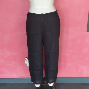 Eileen Fisher black linen blend loose fit pants
